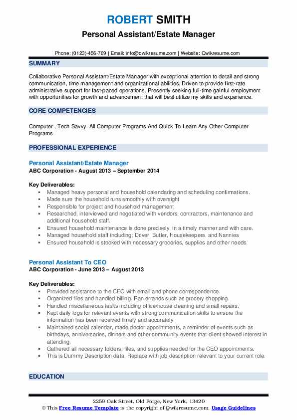personal assistant resume samples qwikresume private estate manager pdf company sample Resume Private Estate Manager Resume