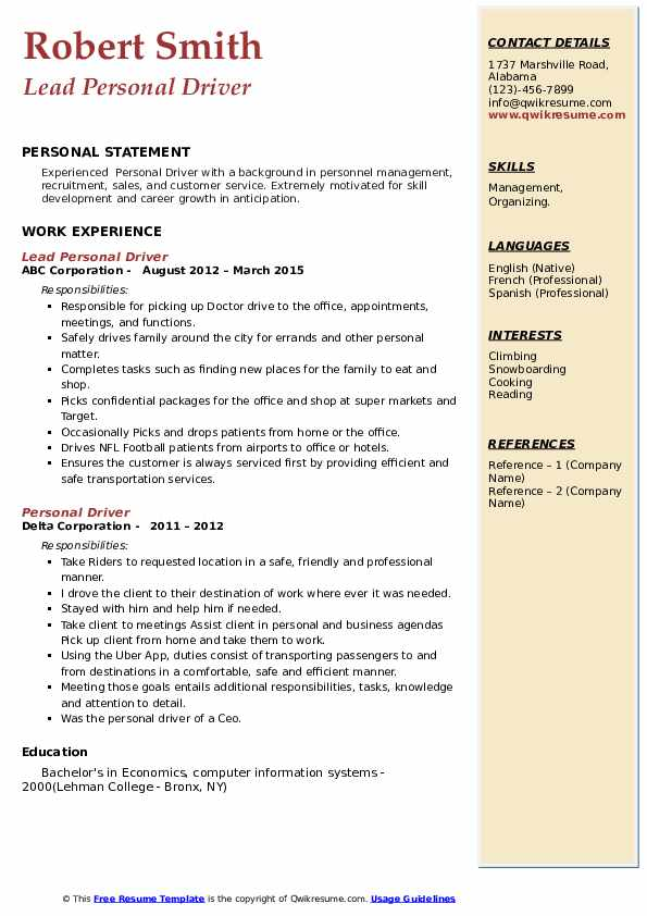 personal driver resume samples qwikresume skills for pdf fast food objective lab Resume Personal Driver Skills For Resume
