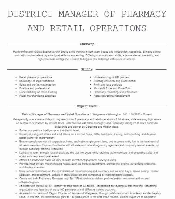 pharmacy district manager resume example rite aid north scituate rhode skills retiree Resume District Manager Skills Resume