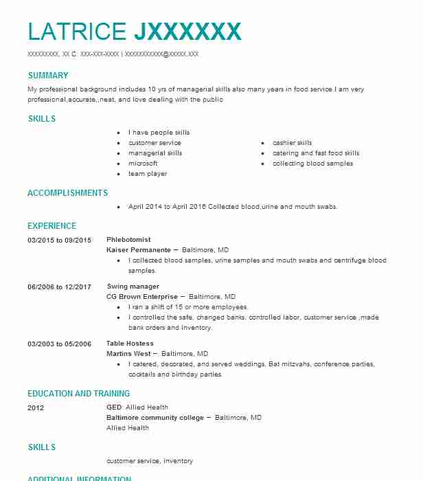 phlebotomist resume example life labs westfield job description patient access Resume Phlebotomist Resume Job Description