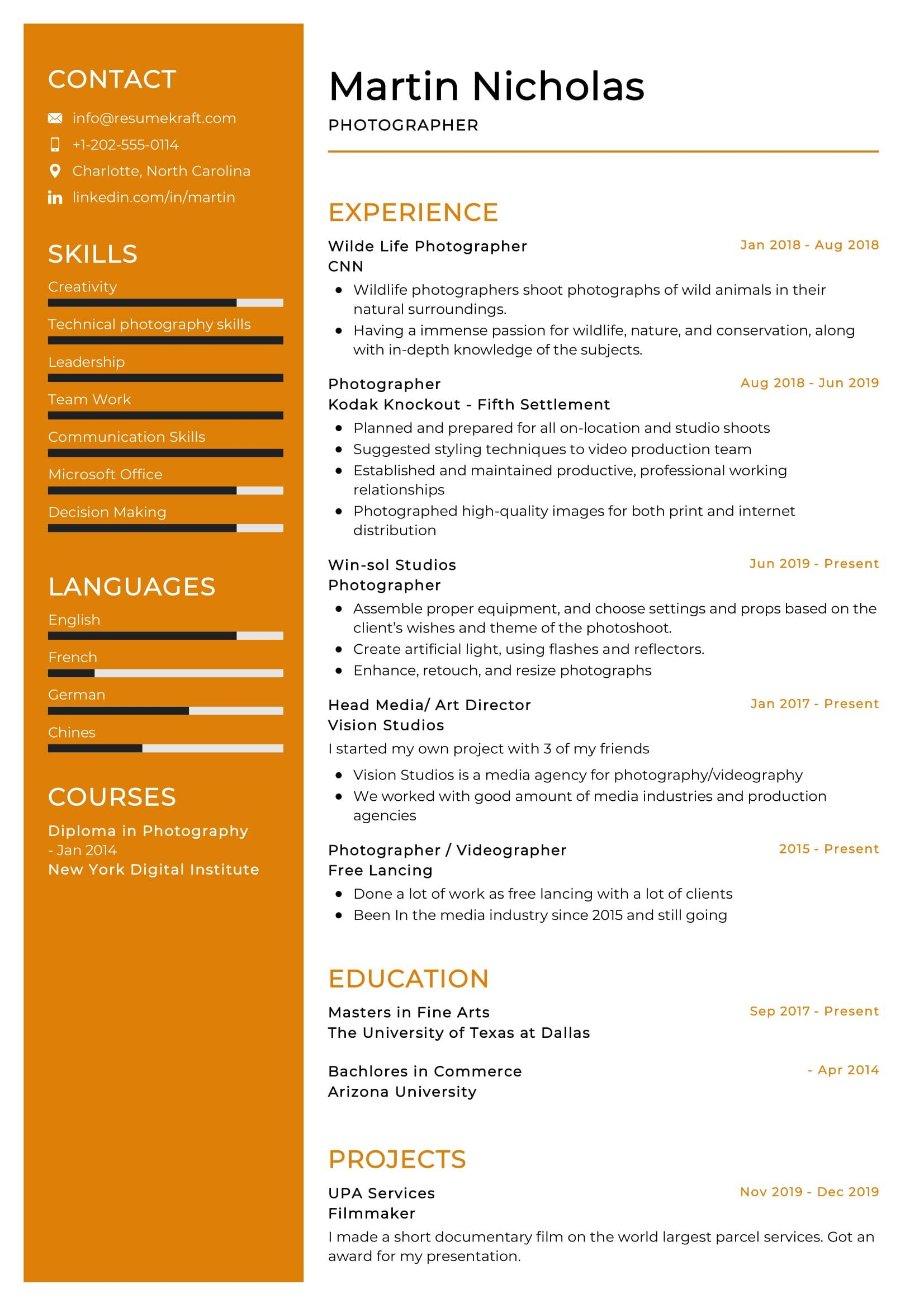 photographer resume example resumekraft photography skills for sample uci template Resume Photography Skills For Resume