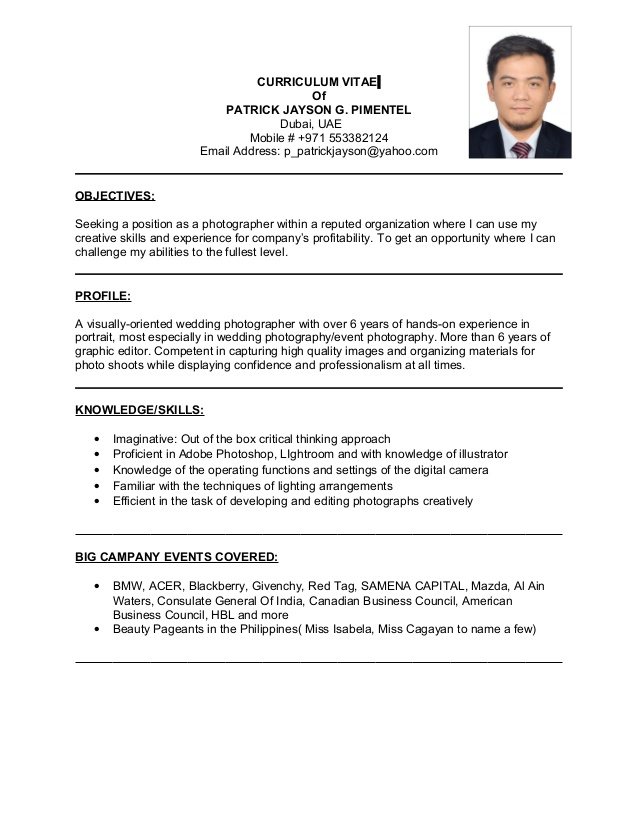 photographer resume photography skills for delivery driver nanny responsibilities on uci Resume Photography Skills For Resume