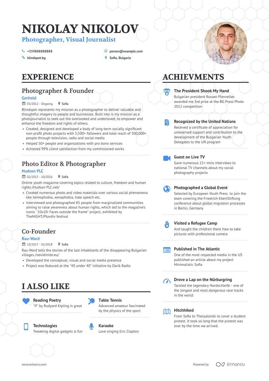 photographer resume samples and writing guide for enhancv photography skills file clerk Resume Photography Skills For Resume