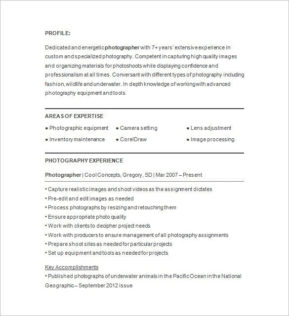photographer resume templates pdf free premium photography objective examples Resume Photography Resume Objective Examples