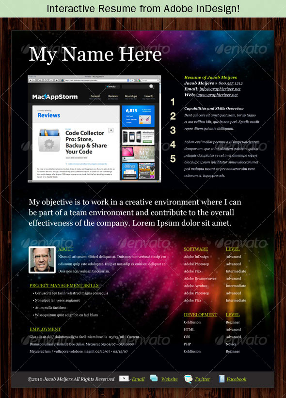 photoshop indesign cv resume templates idesignow interactive samples sample for office Resume Interactive Resume Samples