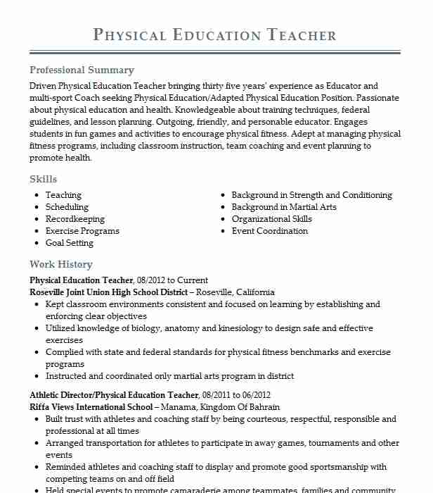 physical education teacher resume example resumes misc livecareer junior business analyst Resume Physical Education Resume