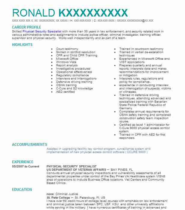 physical security specialist resume example livecareer industrial physician template Resume Industrial Security Specialist Resume