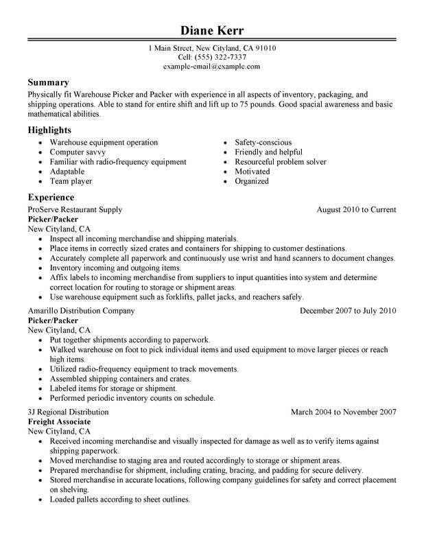 picker and packer resume examples created by pros myperfectresume shipping job Resume Shipping Job Description For Resume