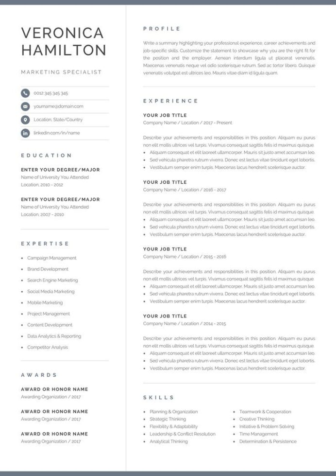 pin by olympia resume professional on graphics design in template one single word plural Resume Single Page Resume Word Template