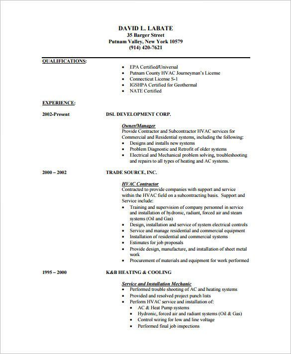 pin on resume examples for refrigeration and airconditioning mechanic professional Resume Resume For Refrigeration And Airconditioning Mechanic