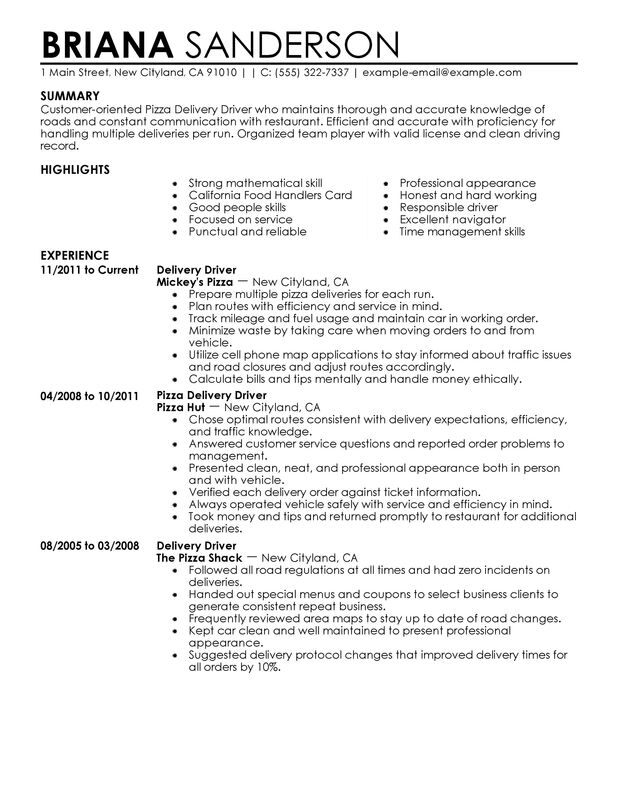 pizza delivery drivers resume examples created by pros myperfectresume package driver Resume Package Delivery Driver Resume