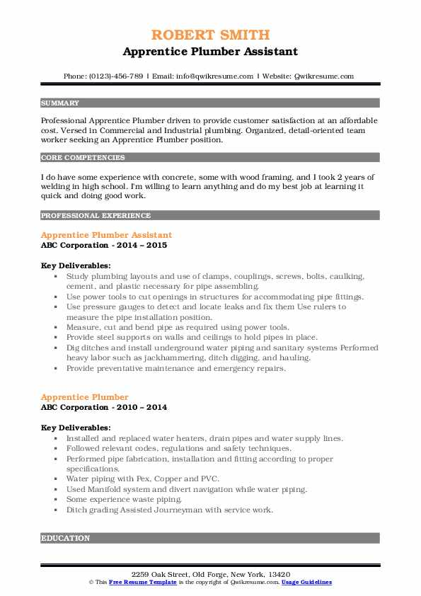 plumbing apprentice resume samples qwikresume plumber objective examples pdf extractor Resume Plumber Resume Objective Examples