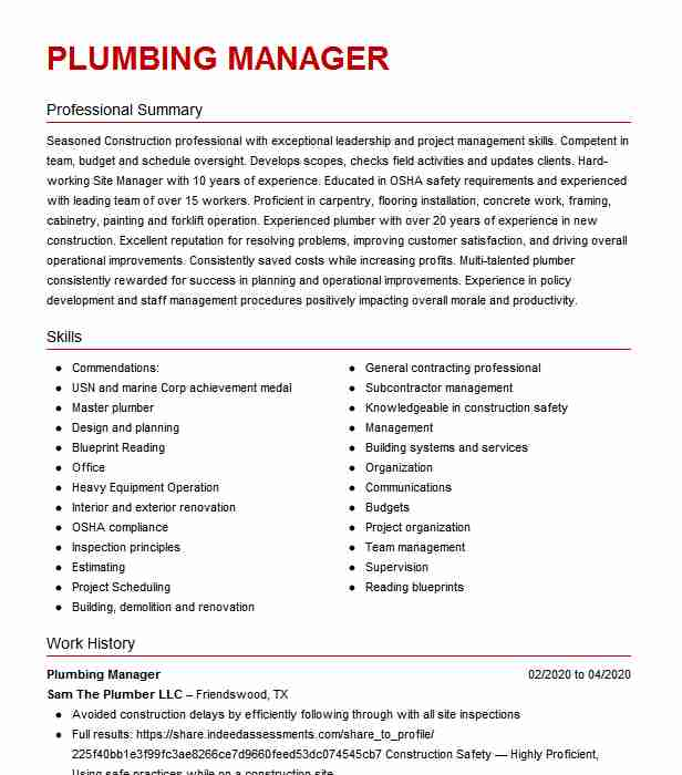 plumbing project manager resume example engineers jobstreet sample experienced chartered Resume Plumbing Project Manager Resume