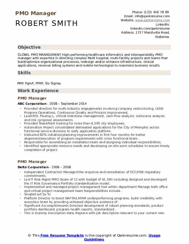 pmo manager resume samples qwikresume project pdf nursing school patient care associate Resume Pmo Project Manager Resume