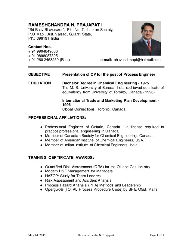 prajapati cv for process engineer oil and gas website objective resume military Resume Objective For Resume Oil And Gas