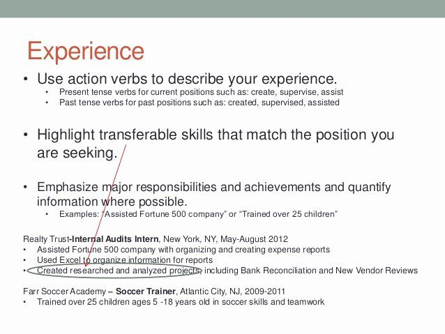 present tense resume example new writing and tips examples past experience microsoft word Resume Resume Past Experience Tense