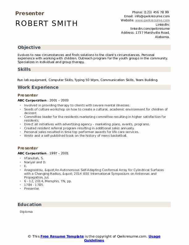 presenter resume samples qwikresume personal experience pdf benefits specialist clinique Resume Resume Personal Experience