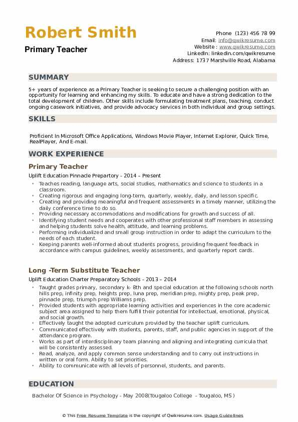 primary teacher resume samples qwikresume for zoology pdf federal template fbi disaster Resume Resume For Zoology Teacher
