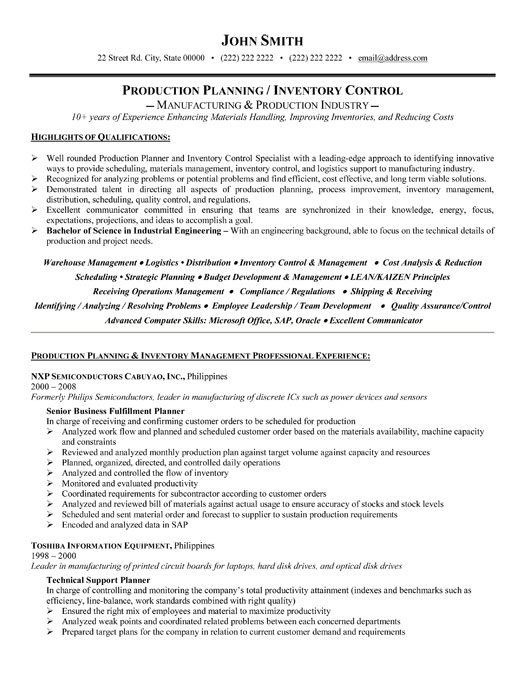 production planner resume sample template sap planning pc professional inventory Resume Sap Production Planning Resume