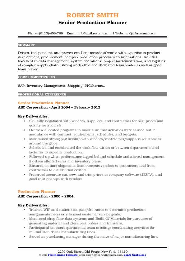 production planner resume samples qwikresume sap planning pdf succinct example of format Resume Sap Production Planning Resume