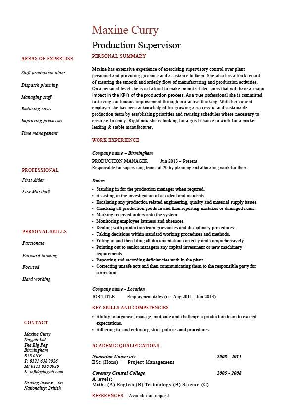 production supervisor resume sample example template job description process professional Resume Quality Incharge Resume