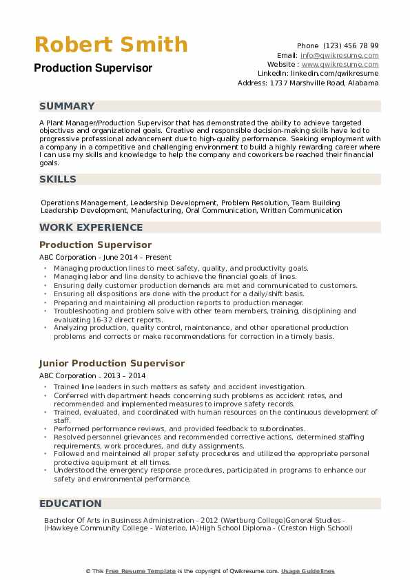 production supervisor resume samples qwikresume quality incharge pdf construction job Resume Quality Incharge Resume