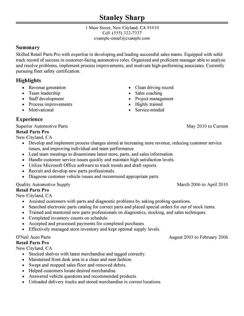 production supervisor resume template for microsoft word livecareer parts department Resume Parts Department Resume