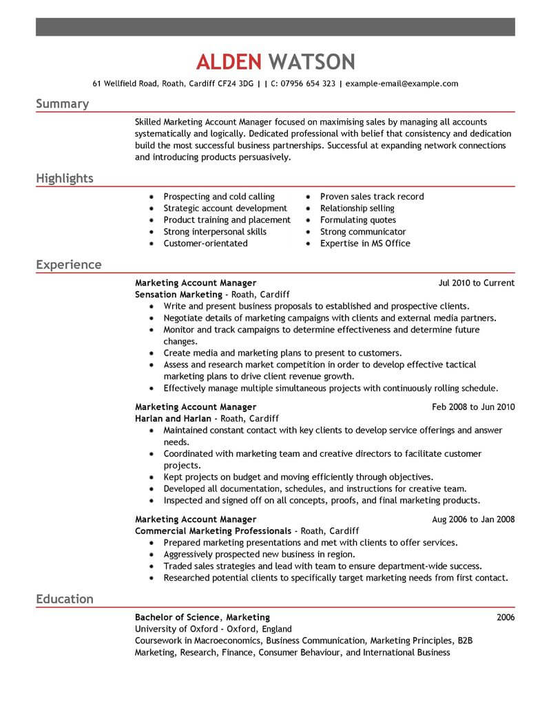 professional account manager resume examples marketing livecareer best for emphasis Resume Best Resume For Account Manager