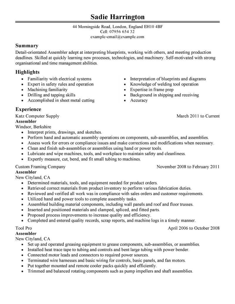 professional assembler resume examples production livecareer experience sample warehouse Resume Production Experience Resume Sample