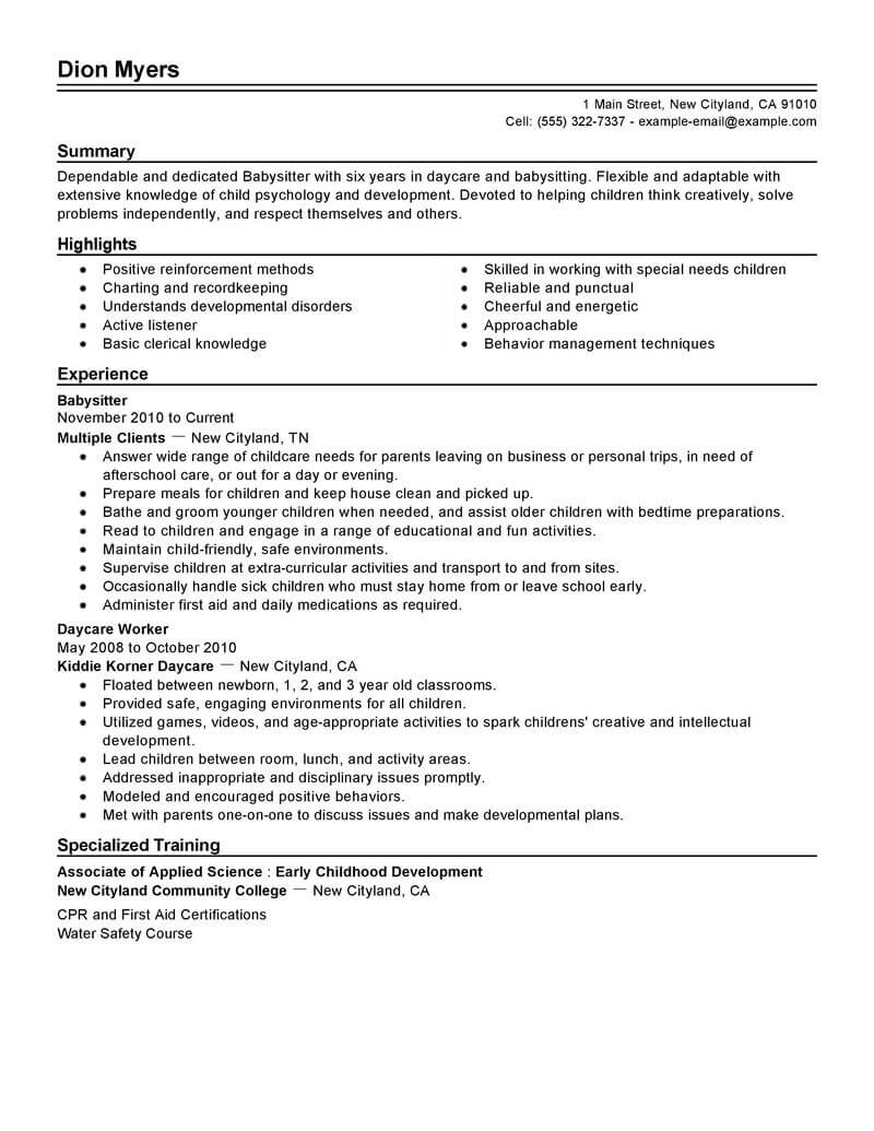 professional babysitter resume examples childcare livecareer for position personal care Resume Resume For Babysitter Position