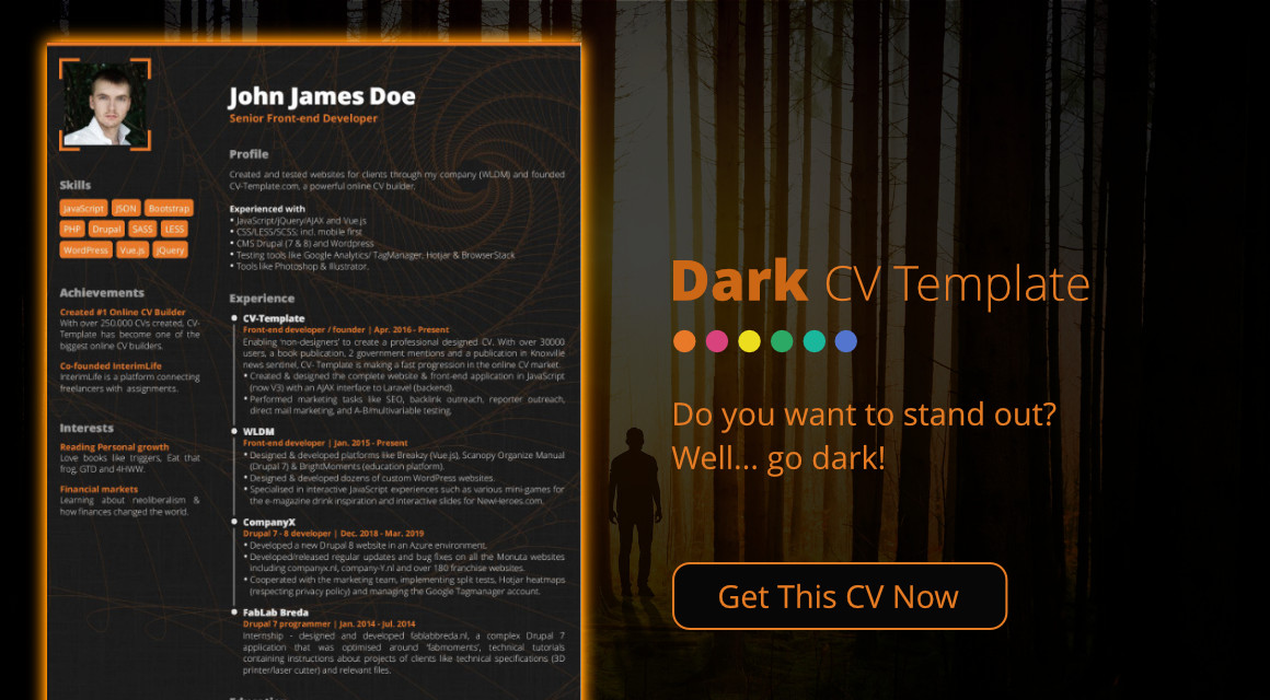 professional cv templates that make you stand out creating resume stands dark template Resume Creating A Resume That Stands Out