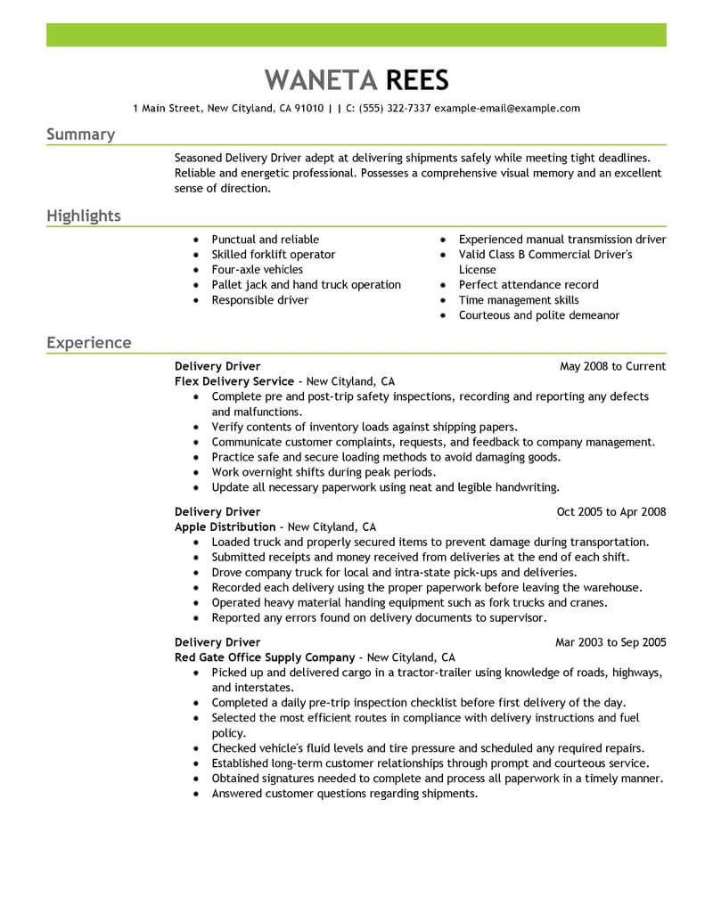 professional delivery driver resume examples driving livecareer personal skills for Resume Personal Driver Skills For Resume