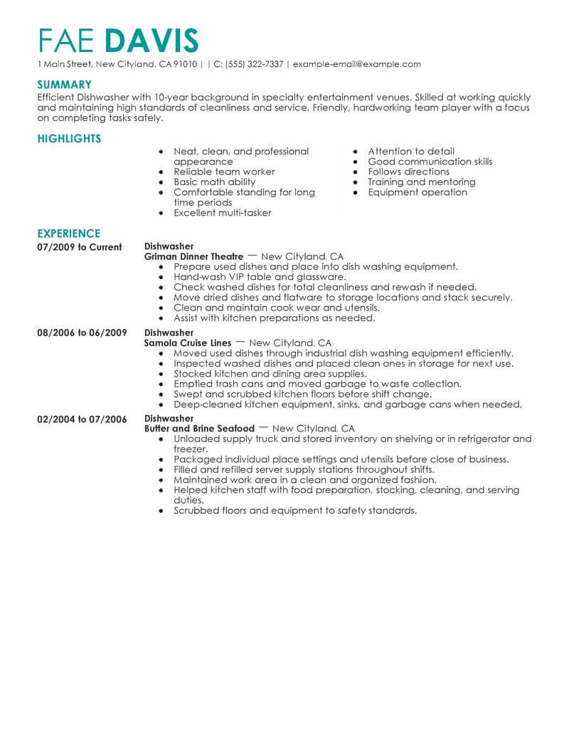 professional dishwasher resume examples culinary livecareer experience media Resume Dishwasher Experience Resume