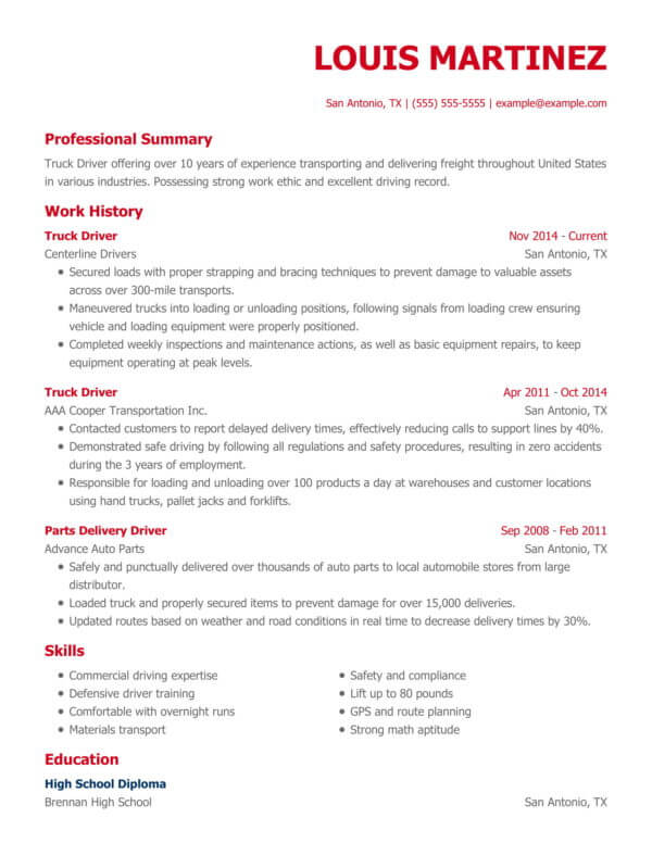 professional driving resume examples livecareer strong work ethic modern chrono truck Resume Strong Work Ethic Resume