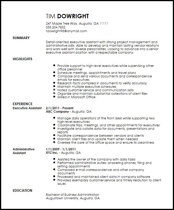 professional executive assistant administrative resume examples template housekeeping Resume Professional Administrative Assistant Resume