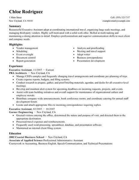 professional executive assistant resume examples administrative livecareer summary of Resume Executive Summary Of Resume Example