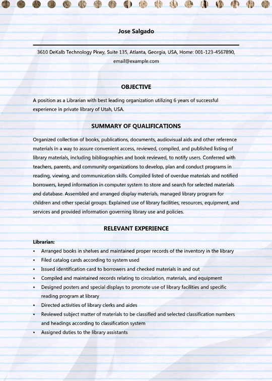 professional librarian resume samples microsoft word sample for writing objective Resume Resume Sample For Librarian