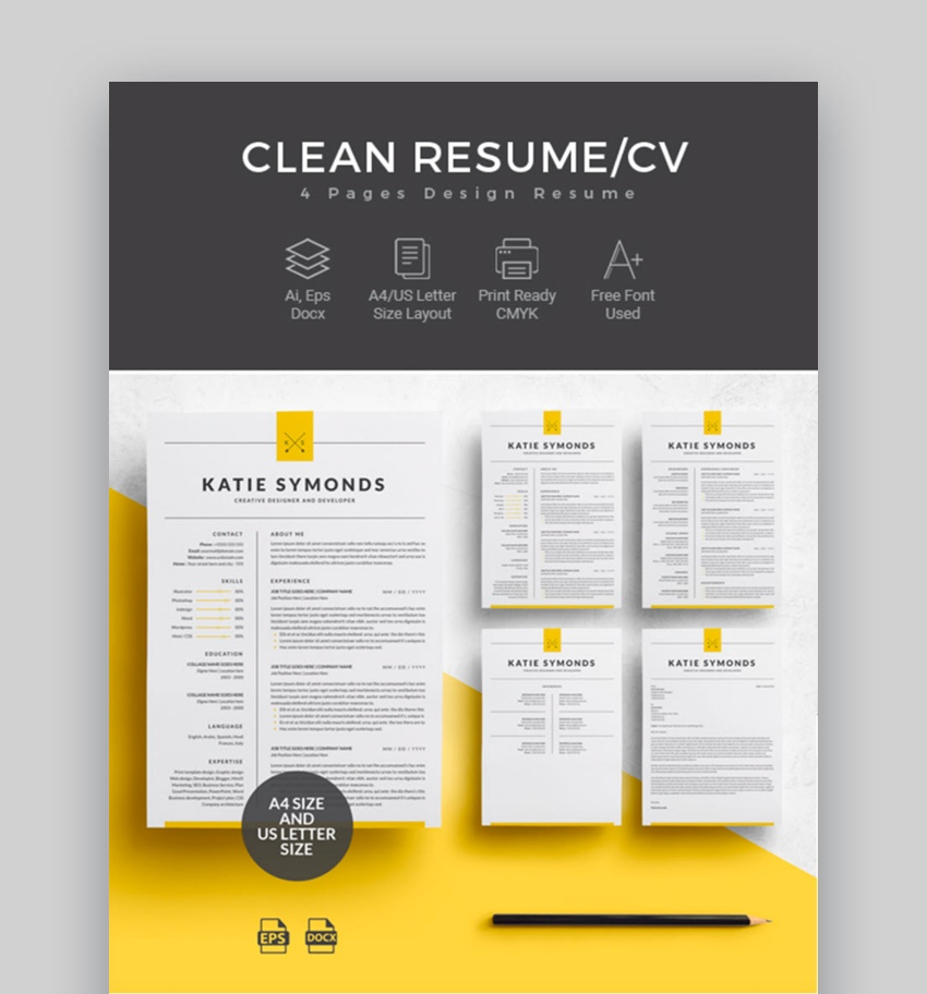 professional ms word resume templates simple cv design formats template four for Resume Resume 2019 Template Word
