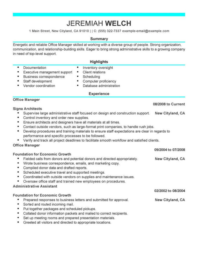 professional office manager resume examples administrative livecareer construction admin Resume Construction Office Manager Resume