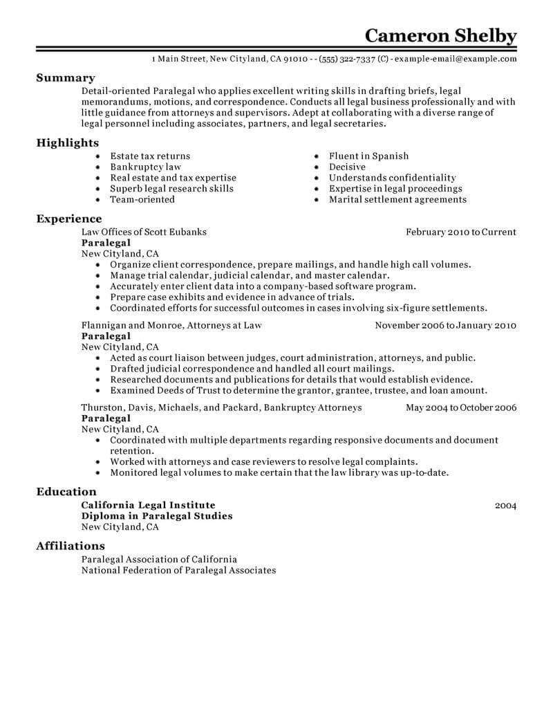 professional paralegal resume examples law livecareer template legal classic office Resume Paralegal Resume Template