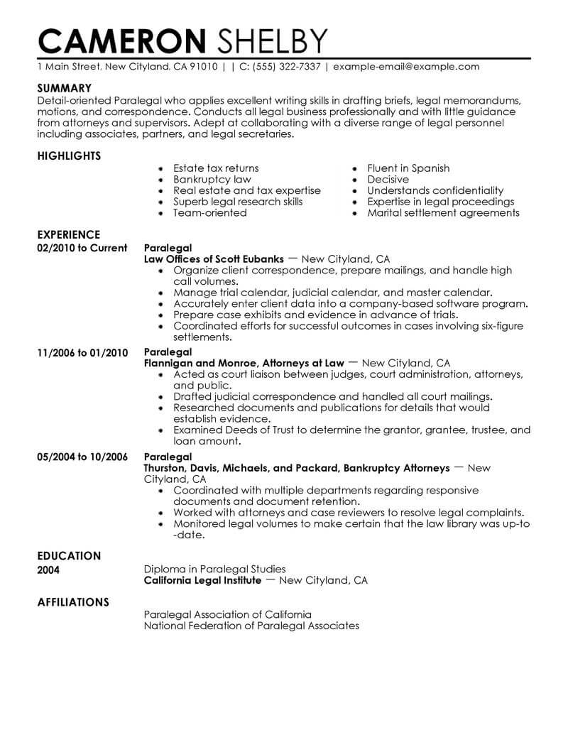 professional paralegal resume examples law livecareer template legal contemporary bsc Resume Paralegal Resume Template