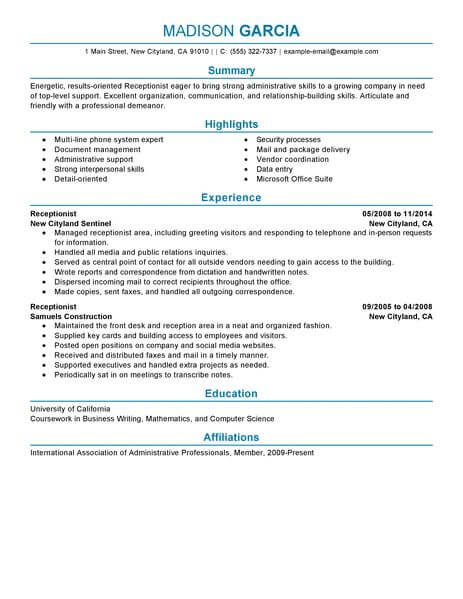 professional receptionist resume examples administrative livecareer of summary for Resume Examples Of Resume Summary For Receptionist