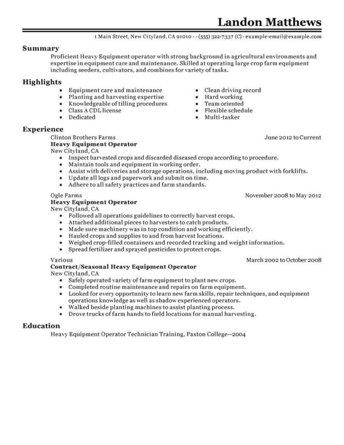 professional resume examples livecareer equipment operator heavy agriculture environment Resume Equipment Operator Resume