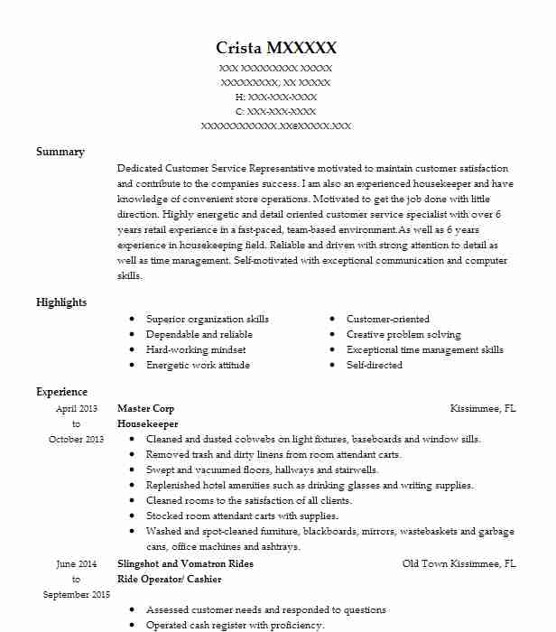 professional resume examples livecareer sample for housekeeping position crm format Resume Sample Resume For A Housekeeping Position