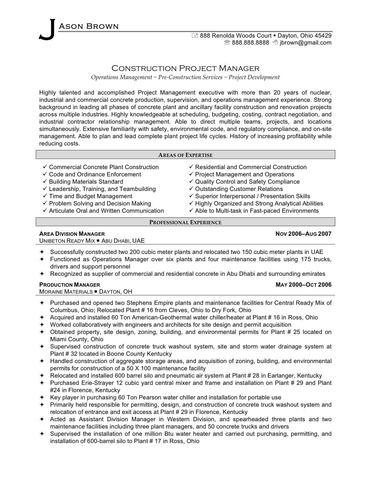 professional resume samples best templates project manager skills concrete superintendent Resume Concrete Superintendent Resume