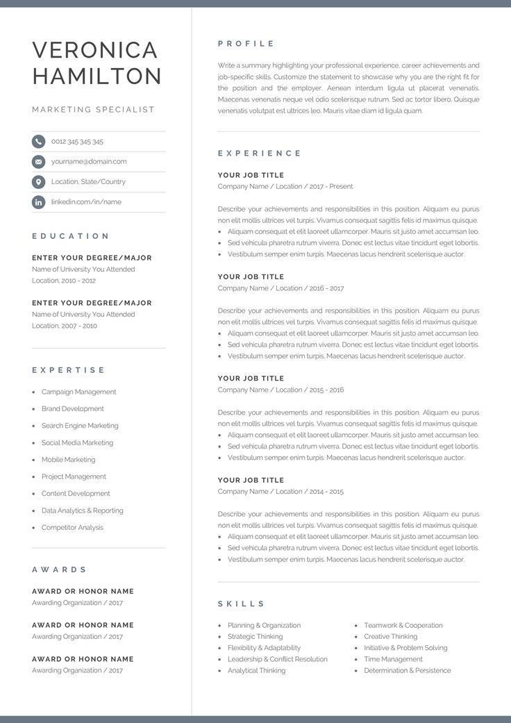 professional resume template compact etsy one microsoft word outsourcing hospital job Resume Microsoft Word One Page Resume Template