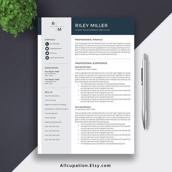professional resume template cv for word cover etsy itil certified examples reddit Resume Resume 2019 Template Word