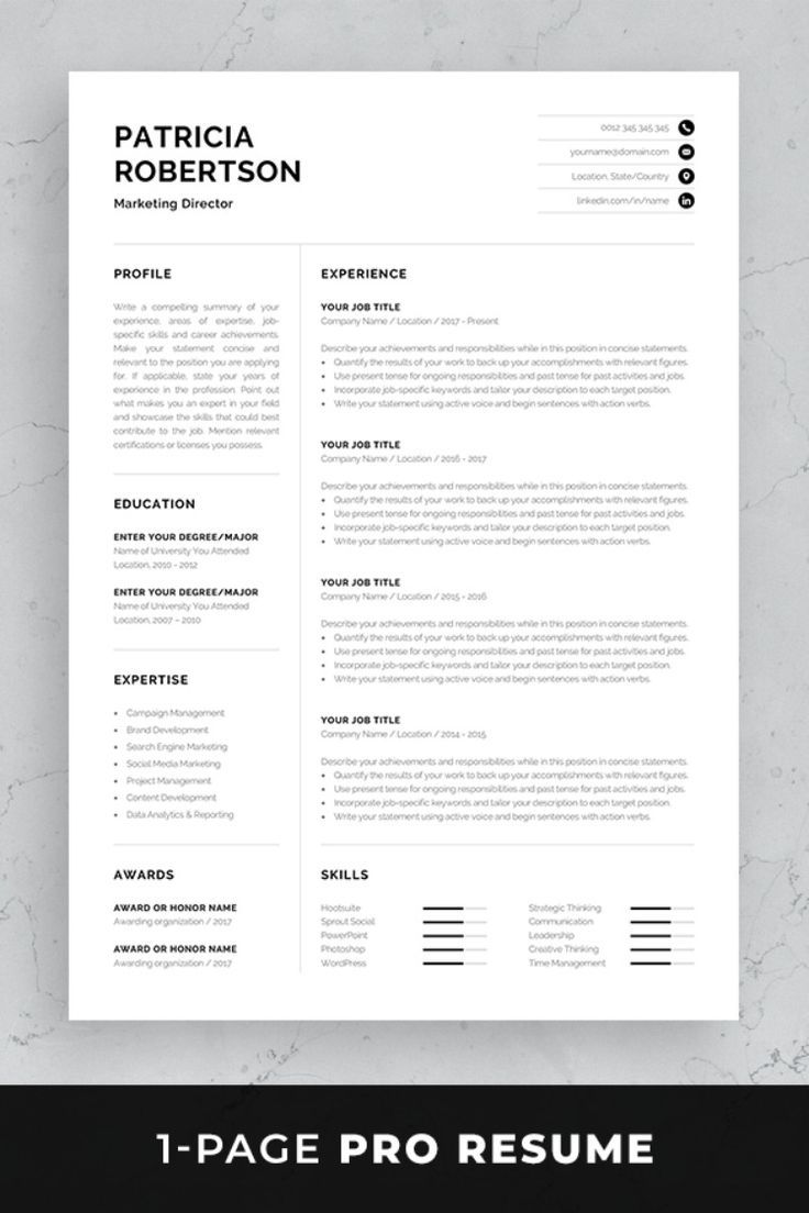 professional resume template modern one cv etsy references single word ultrasound student Resume Single Page Resume Word Template