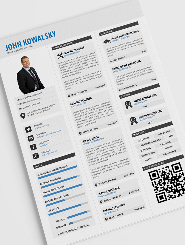 professional resume template pdf linkedin qr code on cv hospitality examples college Resume Linkedin Qr Code On Resume