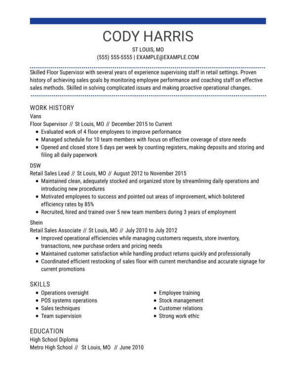 professional retail resume examples livecareer profile for centered chrono floor Resume Resume Profile Examples For Retail